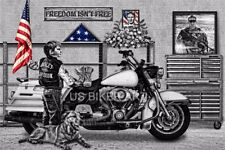 HARLEY DAVIDSON VETERANS MEMORIAL MILITARY AMERICAN HERO FLAG BIKER ART PRINT