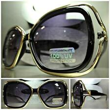 New CLASSIC VINTAGE RETRO Style SUN GLASSES Sexy Bold Fashion Black & Gold Frame