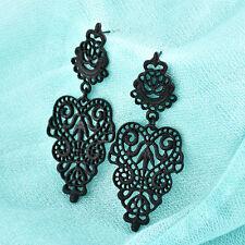Fashion Women's Retro Chic Long Bohemian Hollow-carved Dangle Earrings Ear Studs