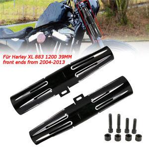Black Billet Aluminum Fork Boot Slider Cover Cow For Harley Touring