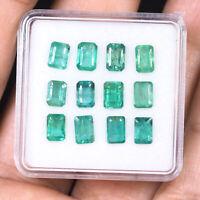 Natural Colombian Emerald 12 Pcs 6mm/4mm Emerald Cut Gemstones Wholesale Lot
