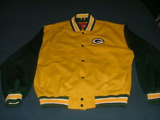 Men's NFL Green Bay Packers Yellow & Green Lined Jacket with Snaps Large