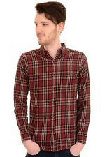 Mens 60's 70's Mod Brushed Flannel Burgundy Wine Check Plaid Lumber Shirt