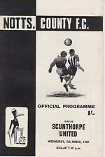 NOTTS COUNTY v SCUNTHORPE UNITED ~ 5 MARCH 1969 ~  FOOTBALL PROGRAMME