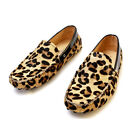 Fulinken MEN Leopard Leather comfort slip on Loafer Driving Shoes moccasin
