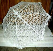 3 Womens White Wedding Lace Sheer Bridal Umbrella Gift Parasol Party Decor