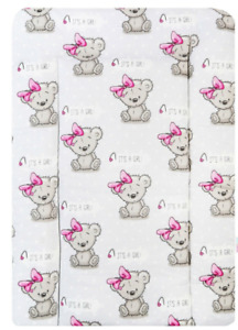 BABY 100% COTTON CHANGING MAT CHILD TODDLER NURSERY FOR UNIT Teddy Girl Grey