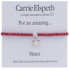 Carrie Elspeth Pulsera 'para una increíble hermana Tarjeta de Regalo encanto Hecho en Gales