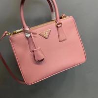 Brand New Prada Saffiano Lux Small Double Zip Pink Leather Tote / Handbag