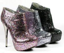 Glitter High Stiletto Heel Platform Ankle Bootie Boot Qupid Neutral-237