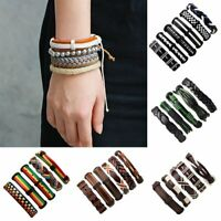 Mens Punk Rock Leather Wrap Braided Wristband Cuff Bracelet Bangle Jewelry Gifts
