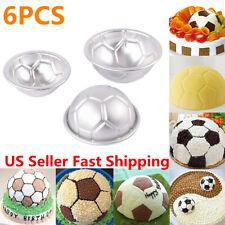 6pcs Set Aluminum Metal Sphere Ball Football 3 Size DIY Cake Pan Bakeware Mold