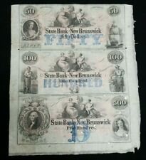 1800's State Bank of New Brunswick, New Jersey Obsolete Uncut 3 Note Sheet