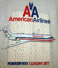 AMERICAN AIRLINES vtg lrg T shirt Fokker 100 Luxury Jet twin-turbo tee 1986