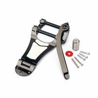 Chrome Tremolo Vibrato Bridge Tailpiece Hollowbody Archtop for Guitar Black