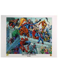 Heroes & Villains Marvel Masterpiece Arthur Adams Lithograph Spider-Man Hulk