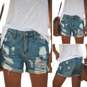 Women Summer Casual Ripped Denim Shorts Ladies Short Jeans Fashion Hot Pants