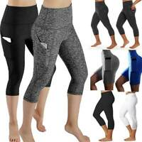 Women's High Waist Yoga Pants Pocket Gym Fitness Sports Capri Leggings Workout