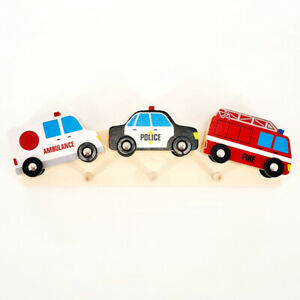 Bunte Kinder-Garderobe Holz Hakenleiste Kinderzimmer Wand Haken Auto Feuerwehr