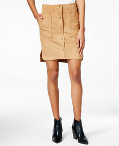 Bar III Womens Faux Sued Button-Up Straight Skirt Brown