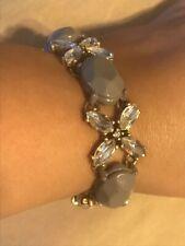 "J.Crew Bracelet Grey Gray Clear Rhinestone Crystal Gold Tone 7.5"""
