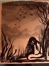 "Vintage JOSEF M. KOZAK Original Artwork Painting/Drawing ""ALONE"" Signed Unframed"