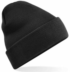 Original Cuffed Knitted Ribbed Beanie Hat Black Cap Wooly soft touch Ship World