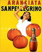 San Pellegrino Orange Drink Italian Vintage Poster Print Art Retro Style Ad