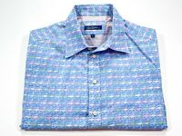 Robert Graham L Men's Short Sleeve Blue Multi-Color Chairs Print