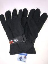 12 Prs Mens Winter Warm Black Fleece Gloves Wholesale Lot