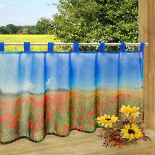 Scheibengardine Blüten Mohn Blumen bedruckt 45x120cm Bistrogardine Kurzgardine