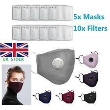 5x PM2.5 Anti Haze Fog Air Pollution Reusable Face Mask +Activated Carbon Filter