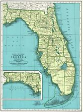 1942 Antique FLORIDA State Map Vintage Map of Florida Gallery Wall Art 8262