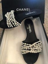 Chanel black satin & pearl Mule slide sandals 8.5