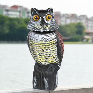 Realistic Owl Decoy with Rotating Head Repellent Pest Control Scarecrow Garden