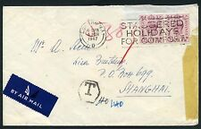 1947 Postage Due cover from England to Shanghai