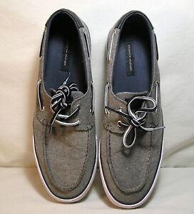 Men's Shoes by Tommy Hilfiger Size 12, Blue Canvas White Sole Boat Shoe Lace Tie