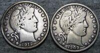 1912-D 1909 Barber Half Dollar Silver ----  Nice Lot ---- #W675