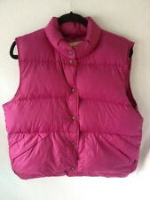 Vintage LL Bean 100% Goose Down Vest Women  L Nylon Puffer Winter Snap Magenta