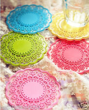 Colored Lace Coaster silicone Cup Mat for table Kitchen Tea Placement Coaster 6