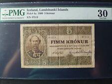 Iceland Landsbanki Islands Lot P-4a 1885 1900 5 Kronur PMG VF 30 Add Collection
