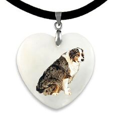 Australian Shepherd Dog Natural Mother Of Pearl Heart Pendant Necklace PP273
