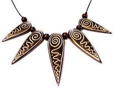 COLLIER corne os ETHNIQUE TRIBAL BIJOUX PENDENTIF horn bone necklace noir blanc