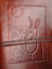 HARE & MOON Pagan Wicca Handmade Leather Journal Book of Shadows Grimoire Diary