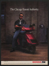 1986 HONDA Elite Scooter - Quarterback JIM McMAHON - CHICAGO BEARS - VINTAGE AD