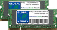 8GB (2 x 4GB) DDR2 667MHz PC2-5300 200-PIN SODIMM MEMORY RAM KIT FOR LAPTOPS