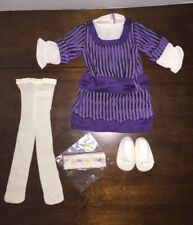 NWOB American Girl white purple Rebecca Hanukkah Outfit dress tights shoes bow