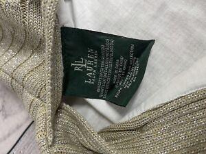 "Ralph Lauren HOME Decorative Metallic Pillow Cover Sweater Cable Knit 20x15"""