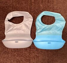 Lot of 2 Oxo Tot Roller Silicone Catcher Bibs Blue And Gray