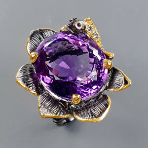 26ct+ Vintage Amethyst Ring Silver 925 Sterling  Size 8.5 /R178308